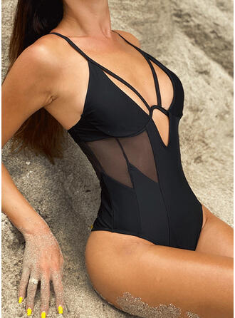 Hollow Out Strap V-Neck Attractive Casual One-piece Swimsuits