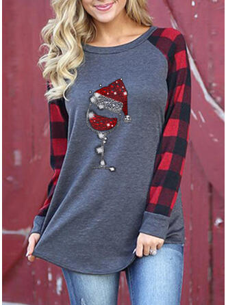 Sequins Round Neck Long Sleeves Casual Christmas Blouses