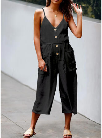 Solid V-Neck Spaghetti Strap Sleeveless Casual Jumpsuit