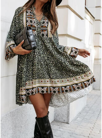 Print/Leopard Long Sleeves Shift Above Knee Casual/Boho Tunic Dresses