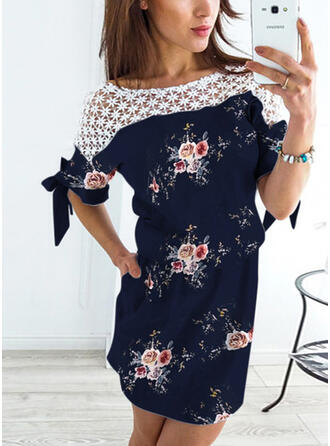 Lace/Print/Floral 1/2 Sleeves Sheath Above Knee Casual Dresses