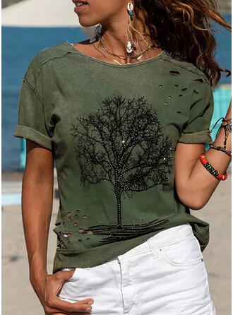 Hollow-out Print Sequins Round Neck Short Sleeves T-shirts