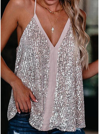 Sequins Spaghetti Straps Sleeveless Tank Tops