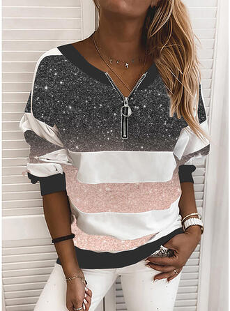 Color Block Sequins V-Neck Long Sleeves Sweatshirt