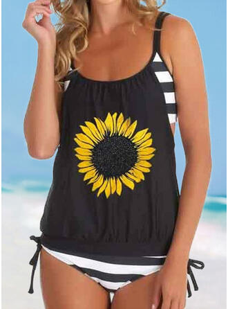 Print Striped Floral Strap U-Neck Casual Tankinis Swimsuits