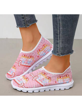 Women's PU Flat Heel Flats Round Toe With Hollow-out Splice Color Print shoes