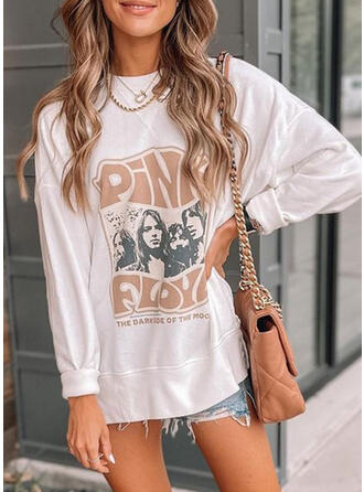 Letter Round Neck Long Sleeves T-shirts
