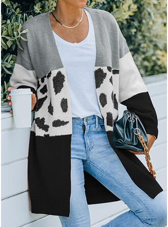 Color Block Leopard Collarless Casual Sweaters