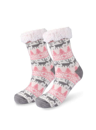 Print/Christmas Reindeer Warm/Women's/Christmas/Crew Socks/Non Slip Socks