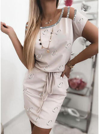 Print/Sequins/Heart Short Sleeves Bodycon Above Knee Casual Dresses