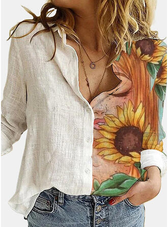 Sunflower Print Lapel Long Sleeves Casual Blouses