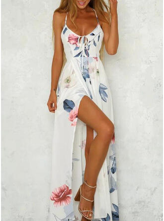 Print/Floral/Backless Sleeveless A-line Slip/Skater Sexy/Vacation Maxi Dresses