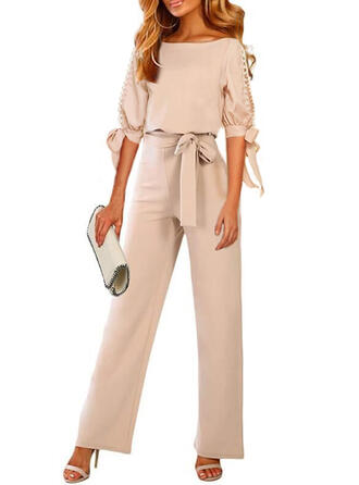 Solid Round Neck 1/2 Sleeves Casual Elegant Jumpsuit