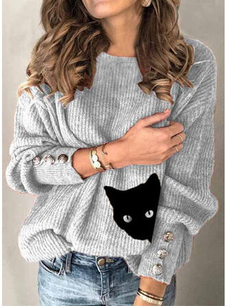 Animal Print Round Neck Casual Sweaters
