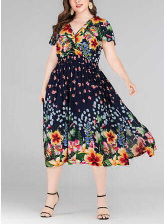 Plus Size Floral Print Short Sleeves A-line Midi Casual Vacation Dress