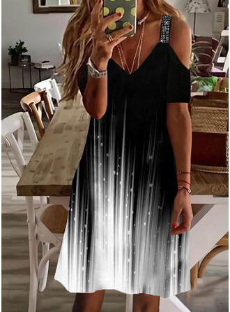 Gradient Sequins Short Sleeves Cold Shoulder Sleeve Shift Knee Length Casual Tunic Dresses