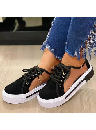 Women's Fabric Flat Heel Sandals Closed Toe With Lace-up Hollow-out shoes