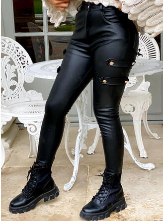 Solid Shirred Sexy Skinny Leather Stretchy Pants Leggings