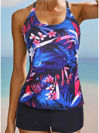 Tropical Print Strap U-Neck Sexy Vintage Plus Size Tankinis Swimsuits