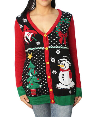 Polyester Print Ugly Christmas Sweater