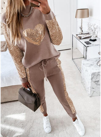 Solid Sequins Plus Size Casual Sporty Suits