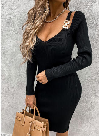 Solid Long Sleeves Bodycon Knee Length Little Black/Casual Sweater Dresses