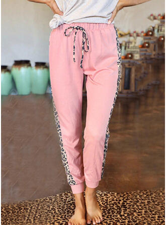 Leopard Drawstring Long Casual Sporty Pants
