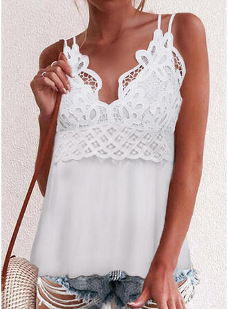 Solid Lace Spaghetti Straps Sleeveless Tank Tops