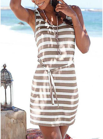 Striped Sleeveless Sheath Above Knee Vacation Tank Dresses