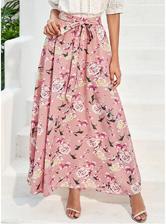 Polyester Print Floral Maxi A-Line Skirts