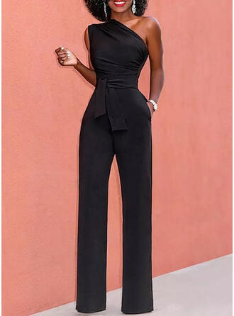 Solid One Shoulder Sleeveless Casual Elegant Office/Business Jumpsuit
