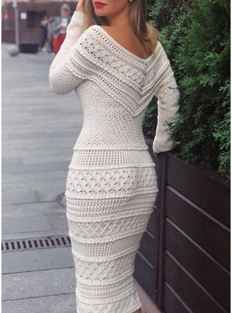 Solid Long Sleeves Bodycon Sweater Elegant Midi Dresses