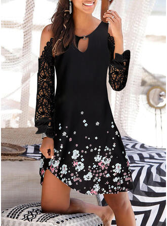 Lace/Print/Floral Long Sleeves/Cold Shoulder Sleeve Shift Above Knee Casual/Vacation Tunic Dresses