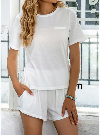 Polyester Plus Size Round Neck Short Sleeves Pyjama Set