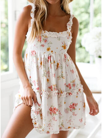 Print/Floral Sleeveless A-line Above Knee Sexy/Vacation Skater Dresses