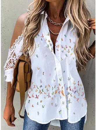 Print Animal Lace Cold Shoulder 3/4 Sleeves Cold Shoulder Sleeve Casual Blouses