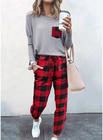Print Plaid Casual Plus Size Tee & Two-Piece Outfits Set