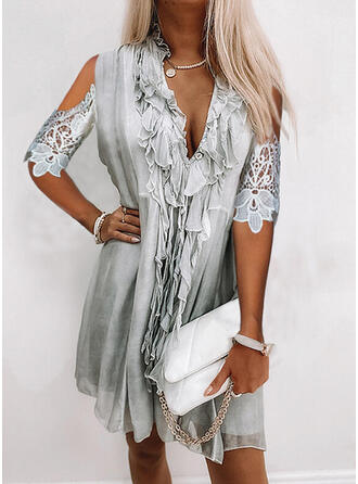 Lace/Solid 1/2 Sleeves Shift Above Knee Casual Tunic Dresses
