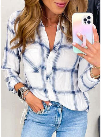 Plaid Lapel Long Sleeves Casual Office/Business Blouses