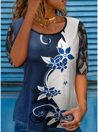 Color Block Floral Print Round Neck 1/2 Sleeves T-shirts