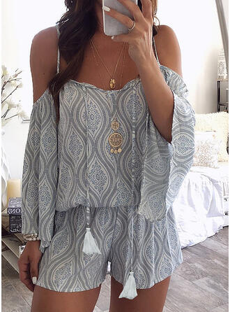Print Spaghetti Strap Long Sleeves Cold Shoulder Sleeve Flare Sleeve Casual Boho Vacation Romper