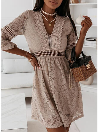 Lace 3/4 Sleeves A-line Above Knee Casual/Elegant Dresses