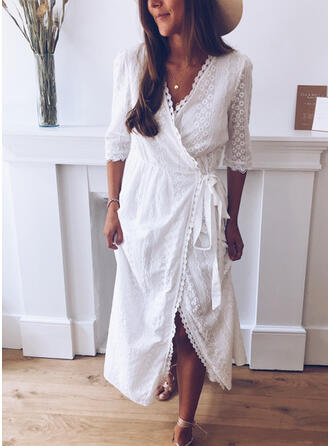 Lace/Solid 1/2 Sleeves Shift Wrap Casual Midi Dresses