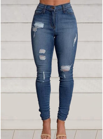 Shirred Ripped Long Casual Elegant Denim & Jeans