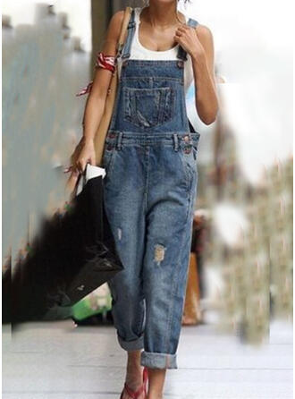 Shirred Plus Size Ripped Casual Vintga Denim & Jeans Jumpsuits & Rompers