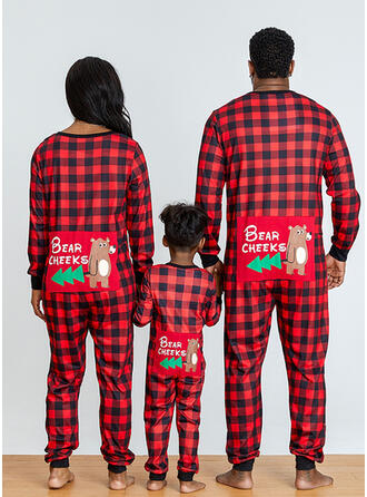 Bear Plaid Letter Print Family Matching Christmas Pajamas