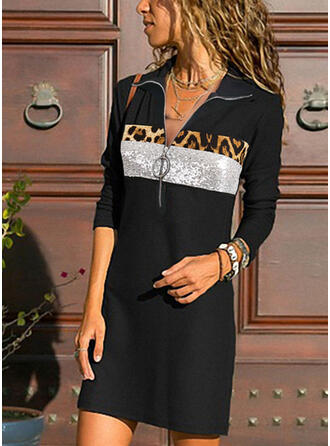 Sequins/Leopard Long Sleeves Sheath Knee Length Casual Tunic Dresses