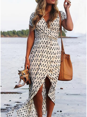 Print Short Sleeves Sheath Asymmetrical Casual/Vacation Wrap Dresses