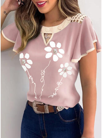 Floral Round Neck Flare Sleeve Short Sleeves Button Up Casual Blouses