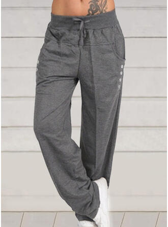 Shirred Plus Size Drawstring Long Casual Solid Pants